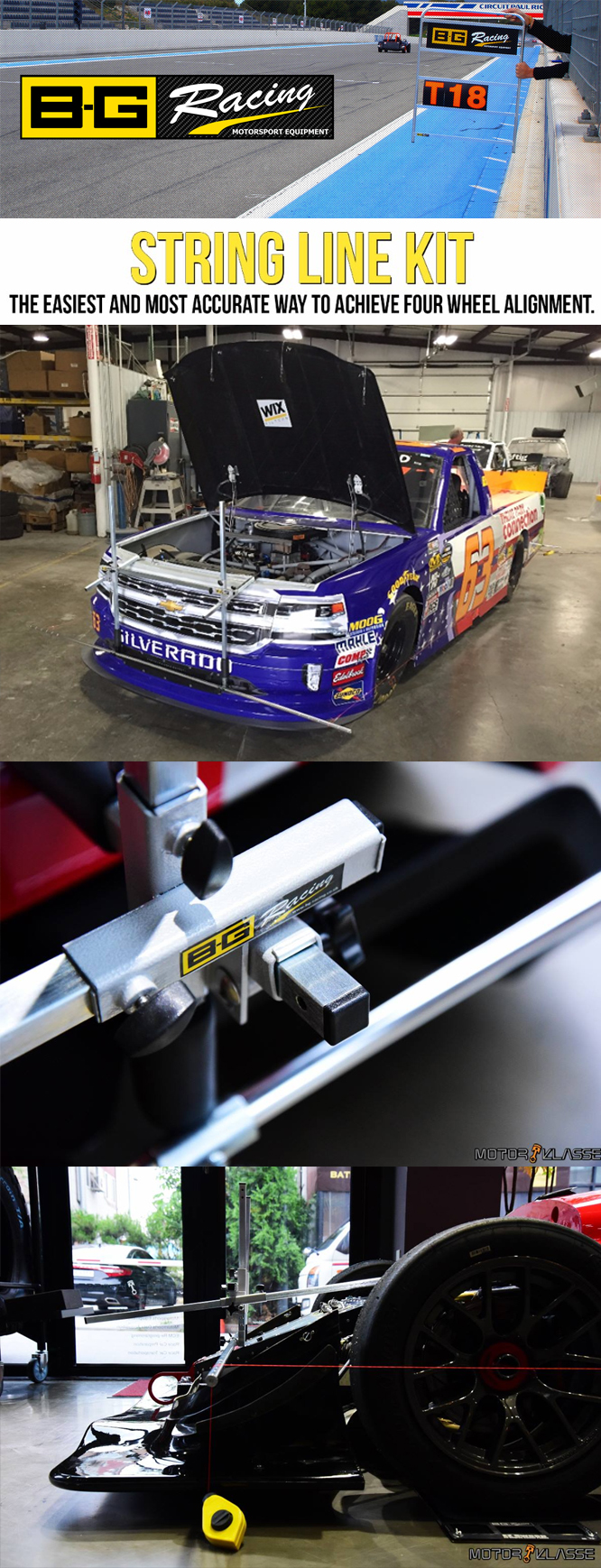 B-G Racing String Lines – The Ultimate Alignment Tool caster camber gauges.