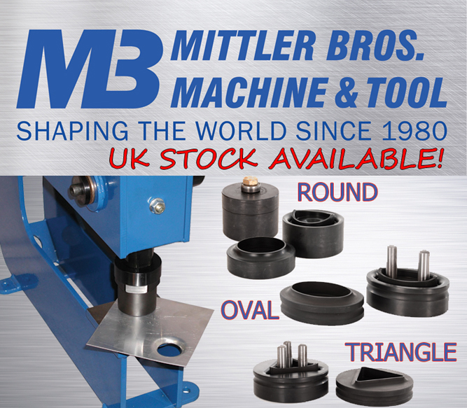 Mittler Bros. 3 tonne manual bench press punch and flare sets.