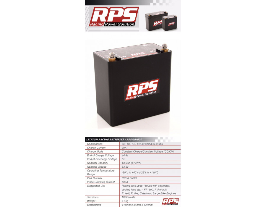 RPS Battery - Lightweight Lithium ION Technology - LB20