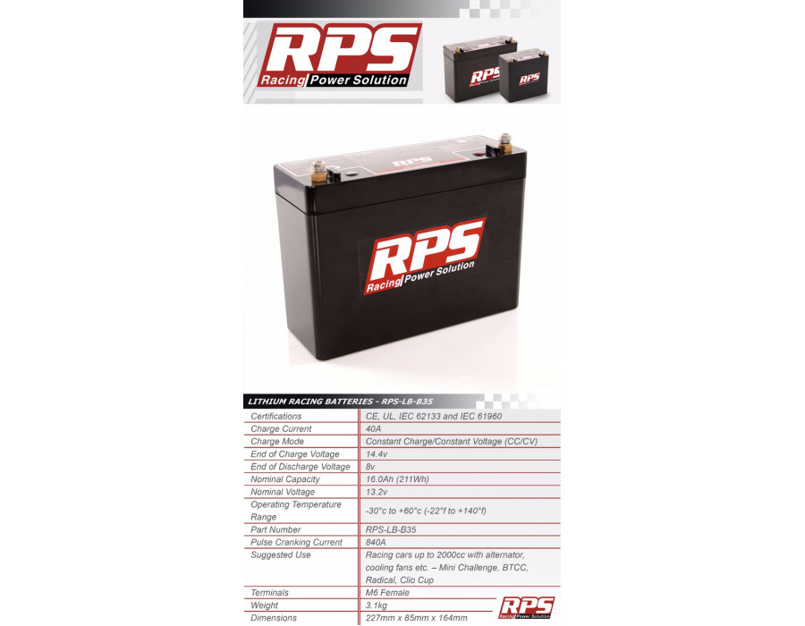 RPS Battery - Lightweight Lithium - Ion Technology - LB35
