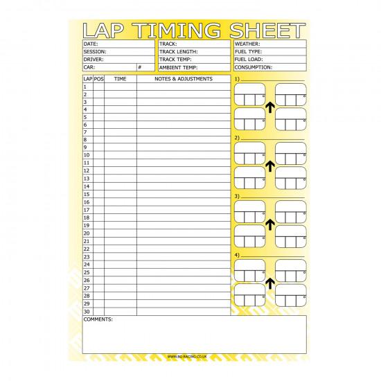 B-G Racing - Lap Timing Sheets  (Pad of 50)
