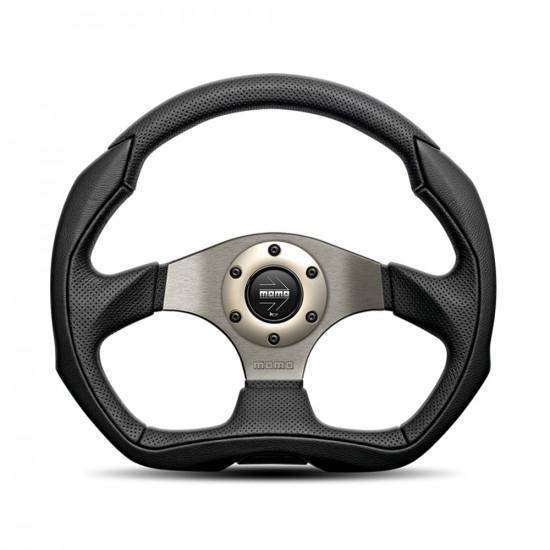 MOMO Eagle Steering Wheel - Black Leather