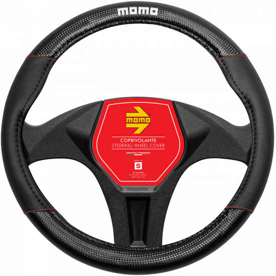 MOMO Universal Car Steering Wheel Cover - Carbon - Red